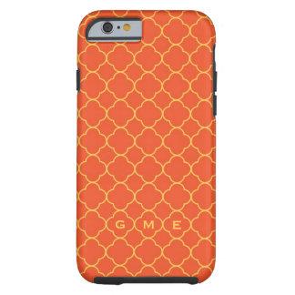 Quatrefoil clover pattern orange yellow 3 monogram tough iPhone 6 case