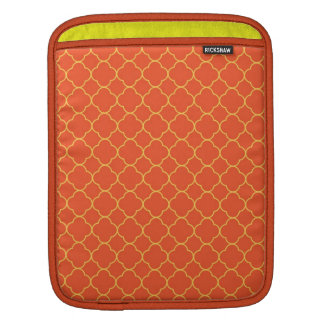 Quatrefoil clover pattern orange yellow fashion sleeve for iPads