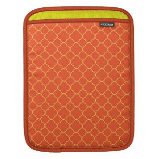Quatrefoil clover pattern orange yellow fashion sleeve for iPads