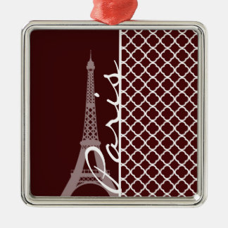 Quatrefoil color de rosa búlgaro; París Adorno Cuadrado Plateado