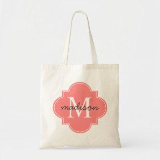 Quatrefoil Coral Custom Personalized Monogram Budget Tote Bag