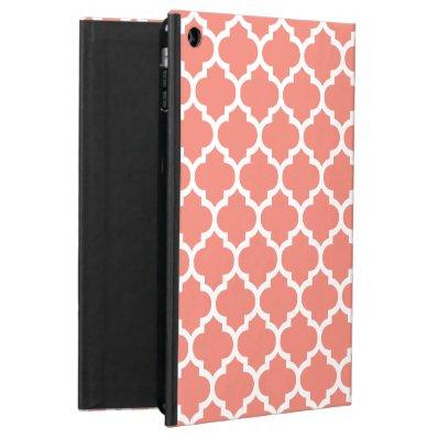Quatrefoil Coral iPad Air Cases