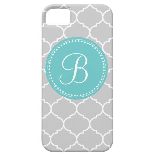 Quatrefoil Custom Monogram in Gray and Turquoise iPhone SE/5/5s Case