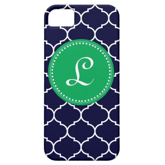 Quatrefoil Custom Monogram in Navy and Kelly Green iPhone SE/5/5s Case