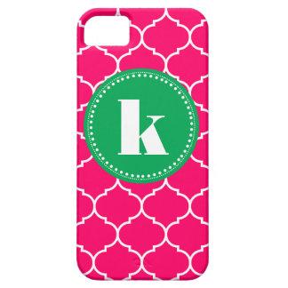 Quatrefoil Custom Monogram in Pink and Kelly Green iPhone SE/5/5s Case