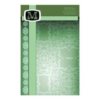 Quatrefoil Damask (Green) Customized Stationery