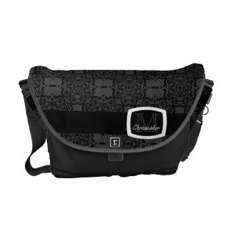 Quatrefoil Damask Messenger Bag