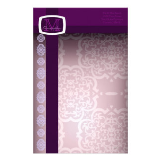 Quatrefoil Damask (Purple) Personalized Stationery