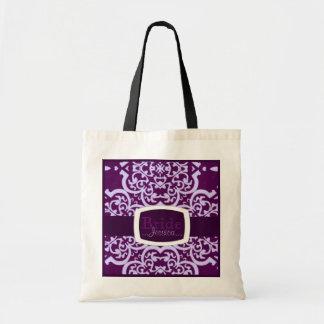 Quatrefoil Damask (Purple) (Wedding) Tote Bags