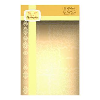 Quatrefoil Damask (Yellow) Stationery