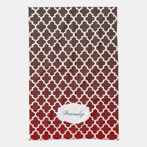 Quatrefoil Dark Red And Brown Blend Kitchen Towels