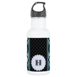 Quatrefoil Dark Turquoise Monogramed Multi Pro Stainless Steel Water Bottle