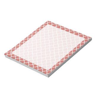 Quatrefoil de color salmón oscuro blocs de papel
