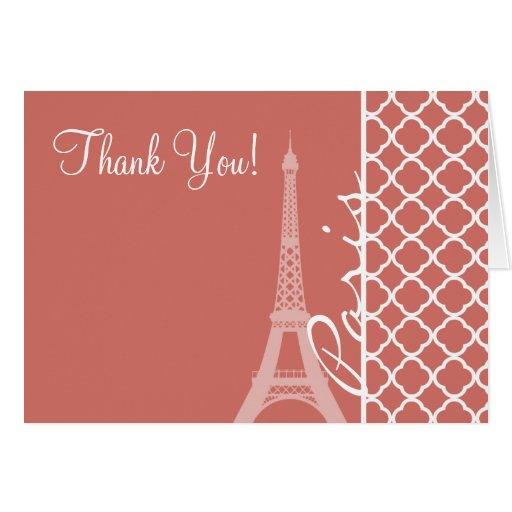 Quatrefoil de color salmón oscuro; Torre Eiffel Tarjeton