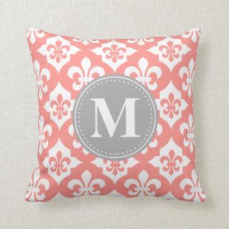 Quatrefoil Fleur-De-Lis Coral Pink Grey Monogram Throw Pillows