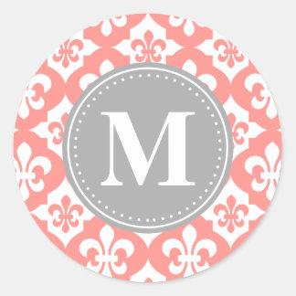 Quatrefoil Fleur-De-Lis Coral Pink Grey Monogram Round Sticker