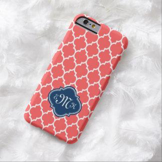 Quatrefoil geométrico rojo coral y blanco de funda para iPhone 6 barely there