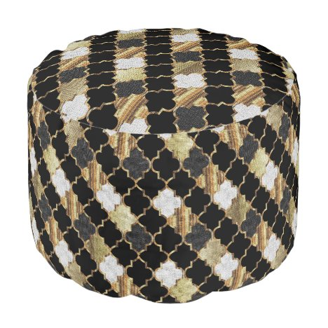 Quatrefoil Gold and Black Pattern Pouf