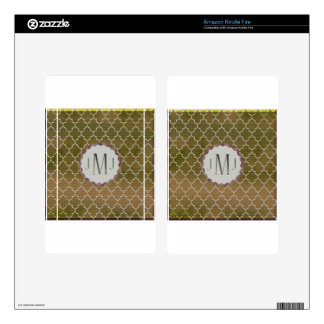 Quatrefoil-Gold and Silver Monogramed Gifts Kindle Fire Skin