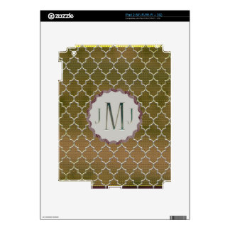 Quatrefoil-Gold and Silver Monogramed Gifts Skin For The iPad 2