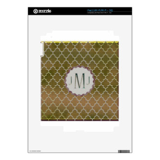 Quatrefoil-Gold and Silver Monogramed Gifts Skins For iPad 2