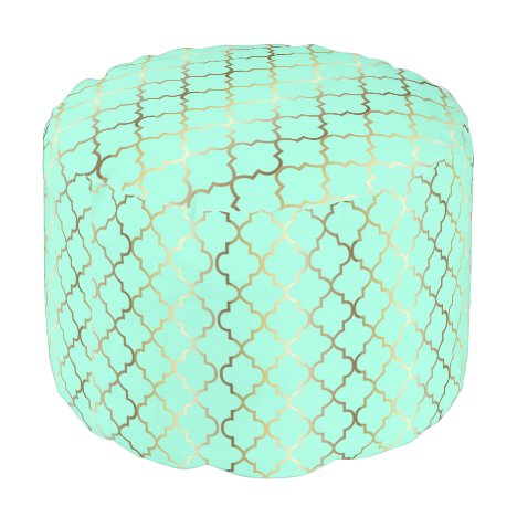 Quatrefoil Gold & Mint Green Pattern | DIY Color Pouf