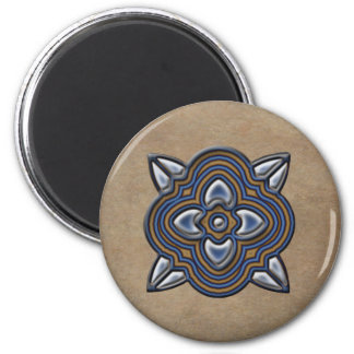 Quatrefoil Gold on Blue 2 Inch Round Magnet