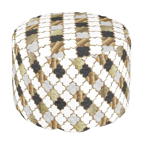 Quatrefoil Gold, White and Black Pattern Pouf