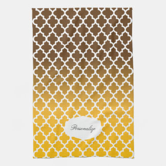 Quatrefoil Golden Yellow & Brown Blended Colors Hand Towel
