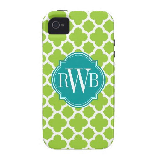 Quatrefoil Green and White Pattern Monogram iPhone 4/4S Cases