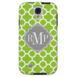 Quatrefoil Green and White Pattern Monogram Galaxy S4 Case