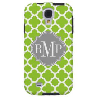 Quatrefoil Green and White Pattern Monogram Galaxy S4 Case