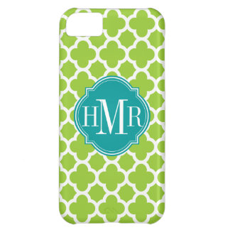 Quatrefoil Green and White Pattern Monogram iPhone 5C Cover