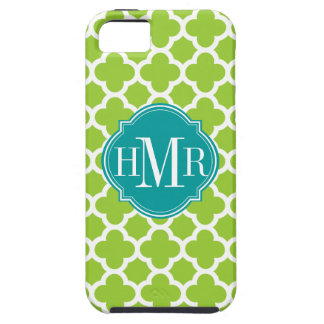 Quatrefoil Green and White Pattern Monogram iPhone SE/5/5s Case