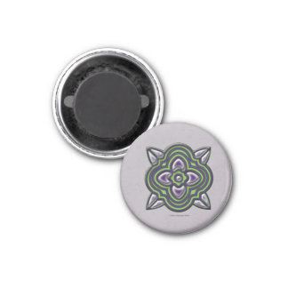 Quatrefoil Green on Purple 1 Inch Round Magnet
