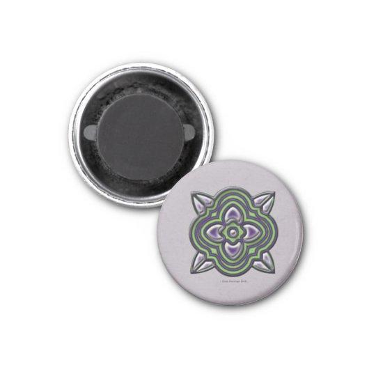 Quatrefoil Green on Purple Magnet