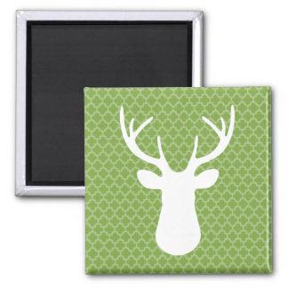 Quatrefoil Green White Deer Head Buck Magnet