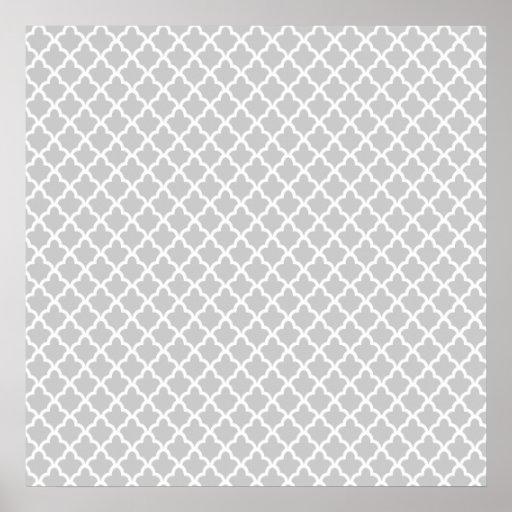 Quatrefoil gris claro poster