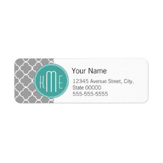 Quatrefoil gris con el monograma de encargo de la etiquetas de remite