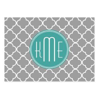 Quatrefoil gris con el monograma de encargo de la  tarjetas de visita grandes