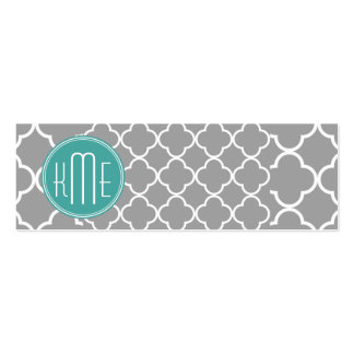 Quatrefoil gris con el monograma de encargo de la  tarjetas de visita mini