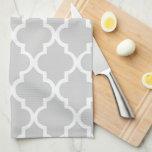 Quatrefoil gris elegante teja el modelo toallas de mano