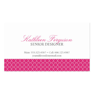 Quatrefoil hot pink clover modern pattern Double-Sided standard business cards (Pack of 100)