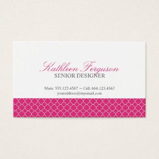 Quatrefoil hot pink clover modern pattern business card