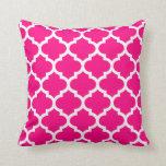 Quatrefoil Hot Pink Throw Pillow