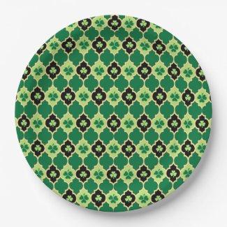 Quatrefoil Irish Shamrocks 9 Inch Paper Plate