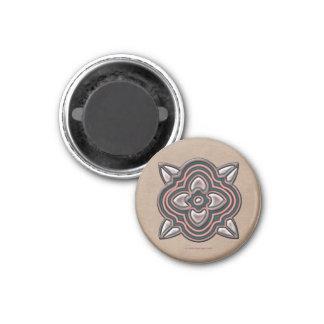 Quatrefoil Jade on Rose 1 Inch Round Magnet