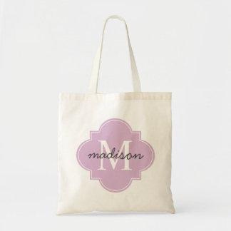 Quatrefoil Lavender Custom Personalized Monogram Budget Tote Bag