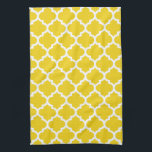 """Quatrefoil Lemon Yellow Kitchen Towels<br><div class=""""desc"""">Geometric quatrefoil pattern in contemporary colors. These kitchen towels / tea towels are perfect for drying dishes and glassware, general kitchen use or simply as a stylish decorative touch for the kitchen. Made in the U.S.A. and machine washable. An ideal gift for shower, wedding, birthday or housewarming. Available in lots...</div>"""