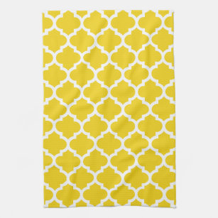 Merveilleux Quatrefoil Lemon Yellow Kitchen Towels